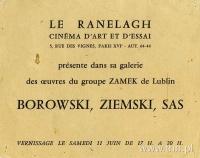zaproszenie na paryską wystawę Grupy Zamek